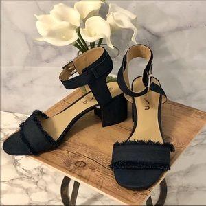 🆕 Unisa Dark Denim Block Heel Fringed Sandals
